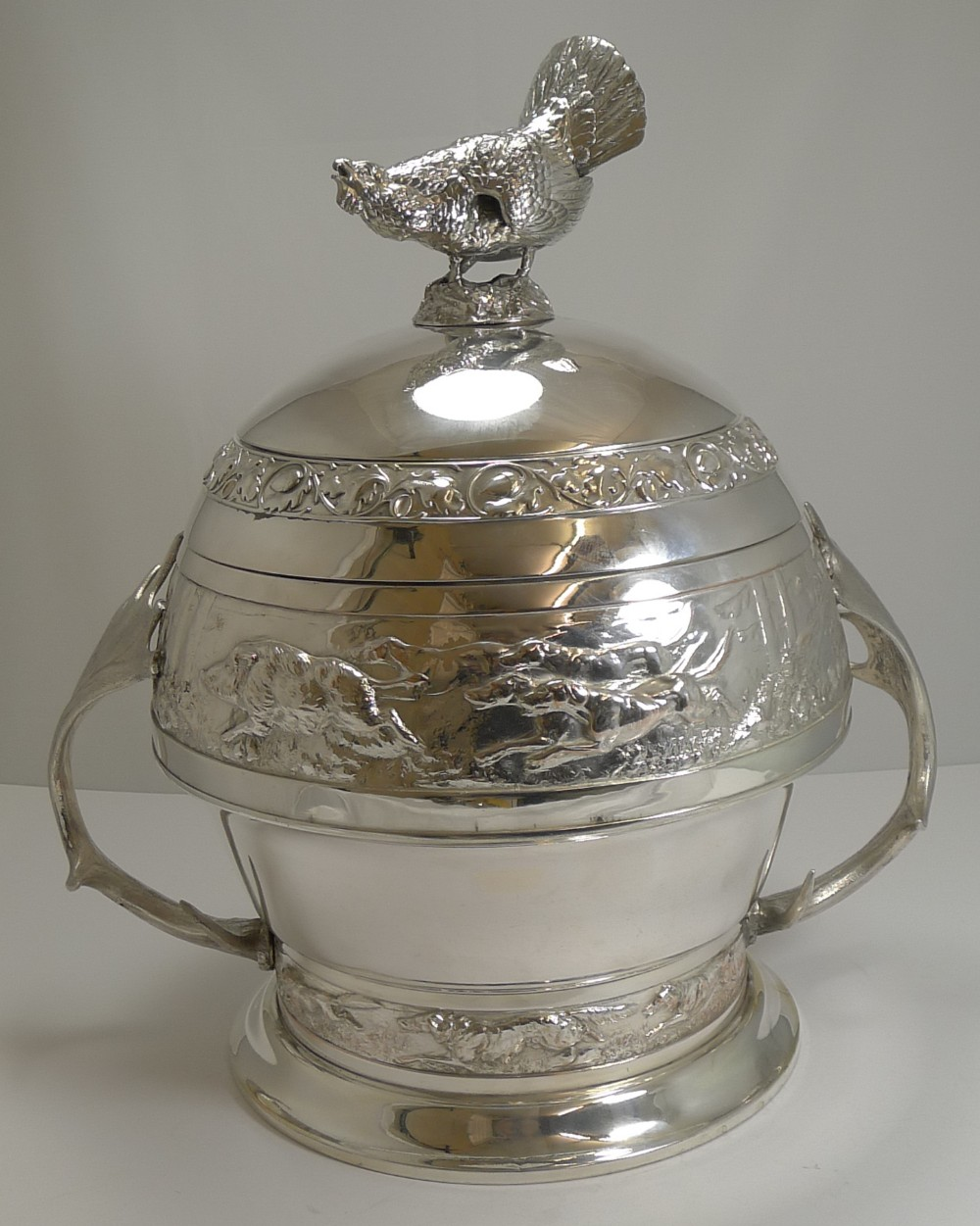 grand silver plated hunting tureen by wmf c1920 signed