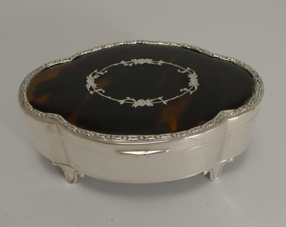 antique english silver and tortoiseshell jewellery box 1911