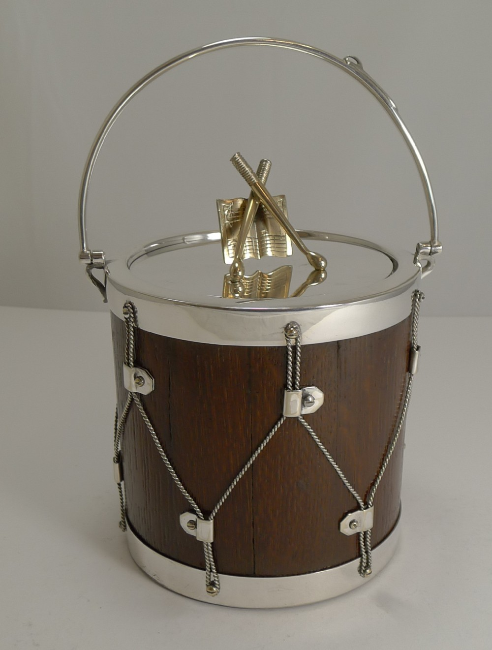 fabulous antique english oak silver plated drum form biscuit box barrel c1890
