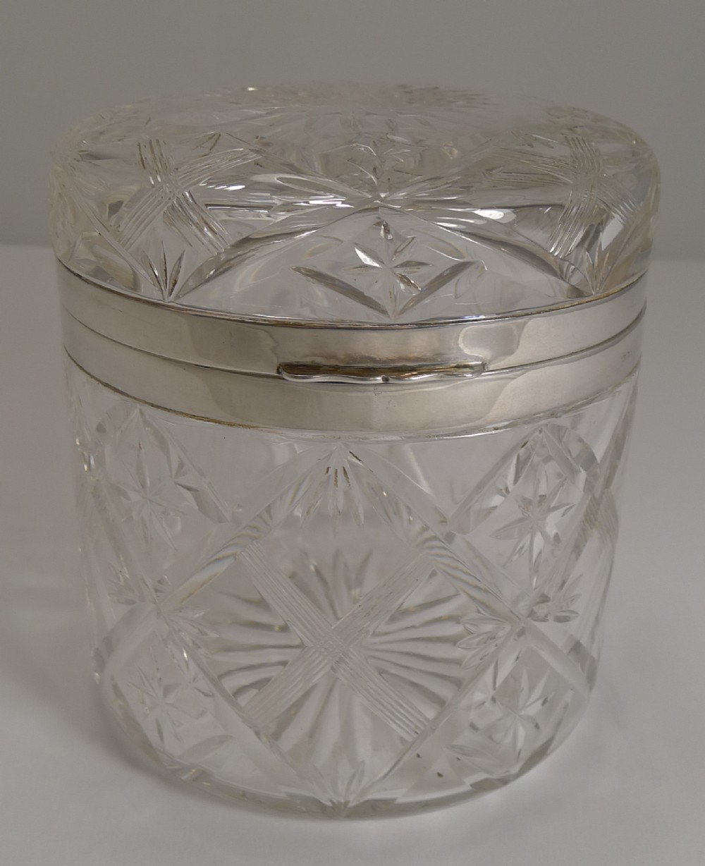 glamorous vintage cut crystal and sterling silver box birmingham 1931