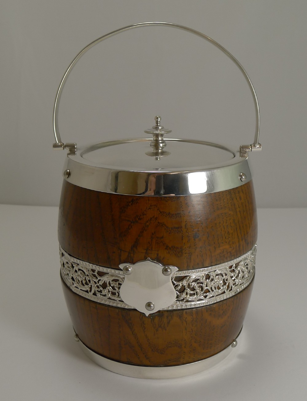 antique english oak and silver plate biscuit box barrel c1900