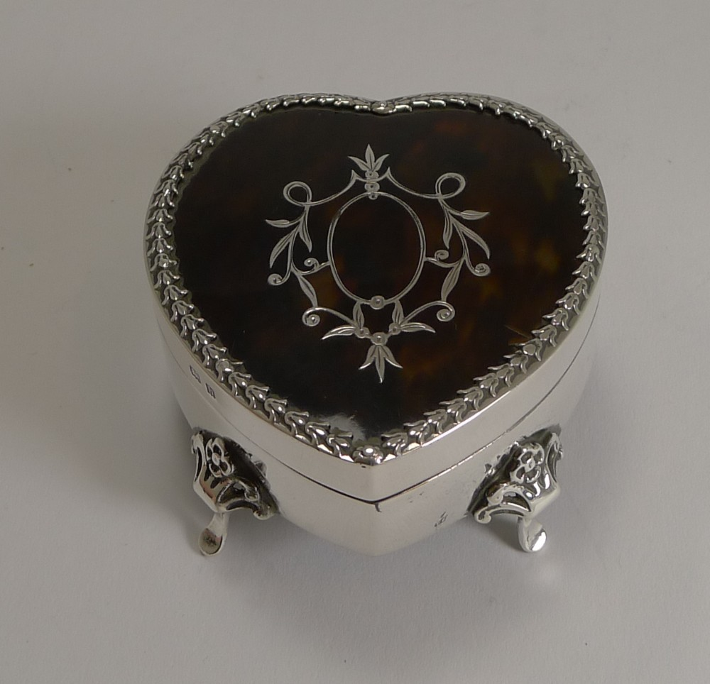 antique english silver and tortoiseshell heart jewellery ring box