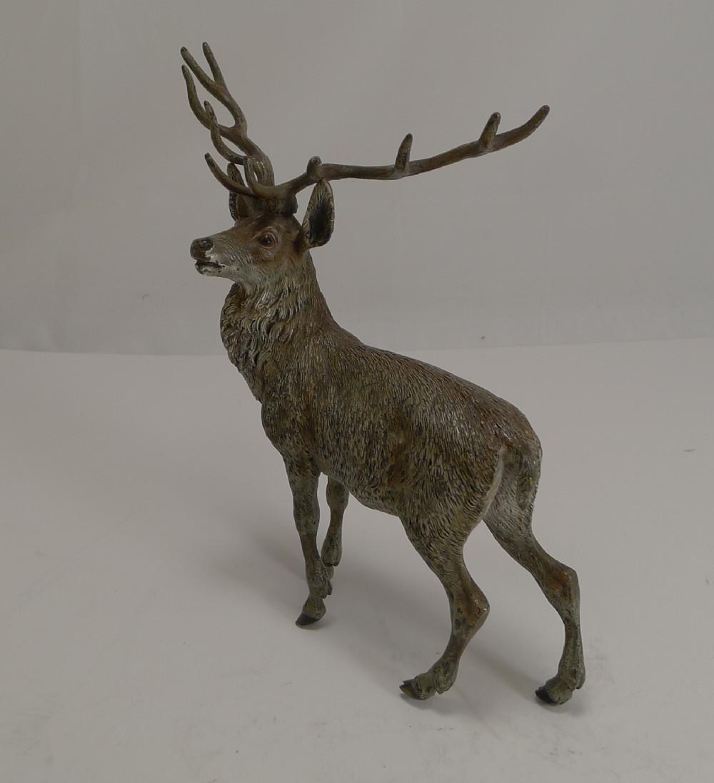 large antique austrian cold painted bronze stag figure c1890
