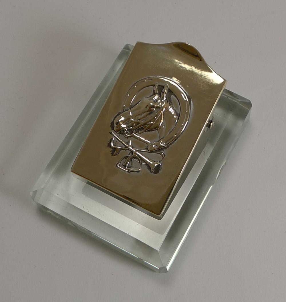 Marvelous Equestrian Brass And Glass Desk Letter Clip C 1910 526757 Beutiful Home Inspiration Xortanetmahrainfo