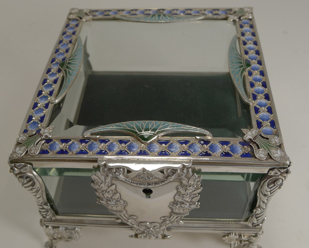be1208a76c29 French Art Nouveau Silver Plate And Enamel Jewellery Box C.1900 ...