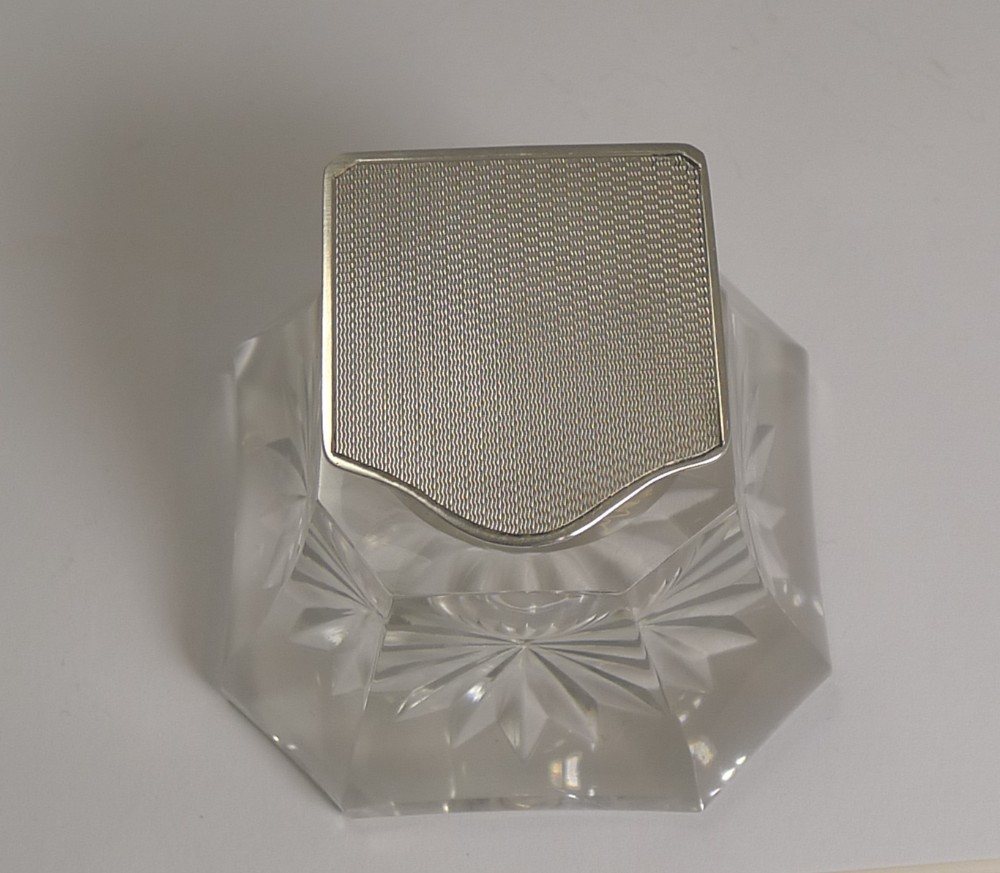 handsome art deco cut glass and english sterling silver inkwell