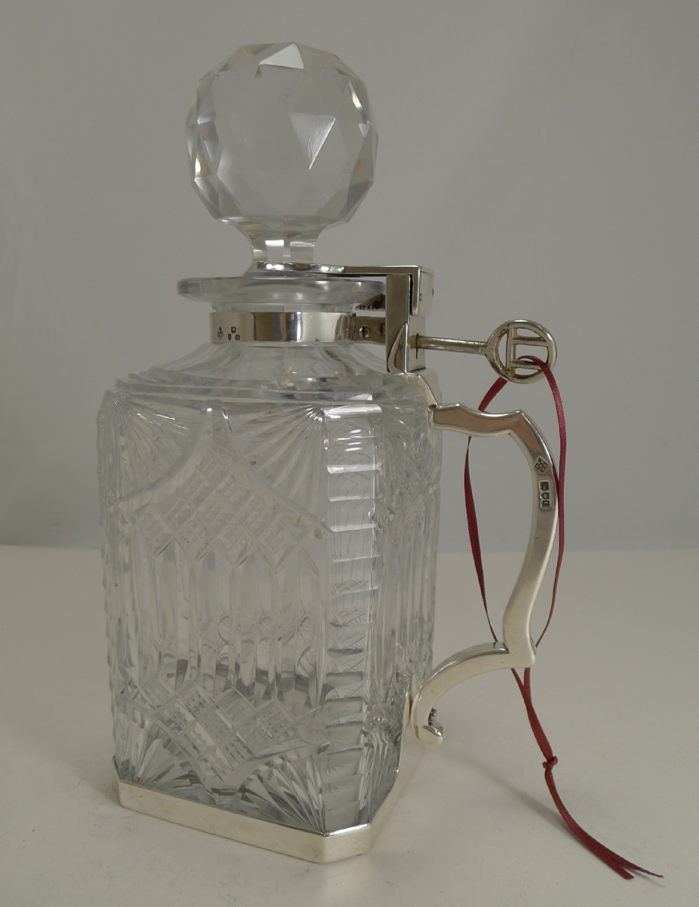 antique english cut crystal and sterling silver single locking decanter 1898