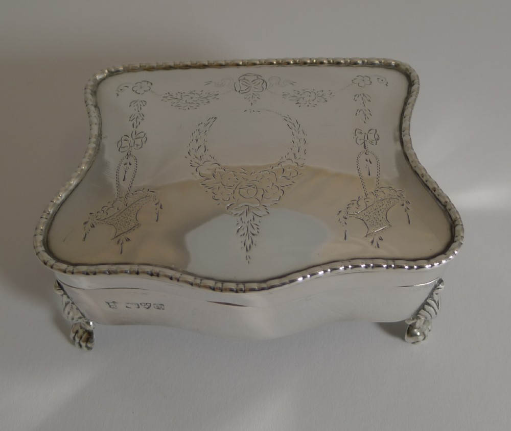 antique english sterling silver jewellery box 1911