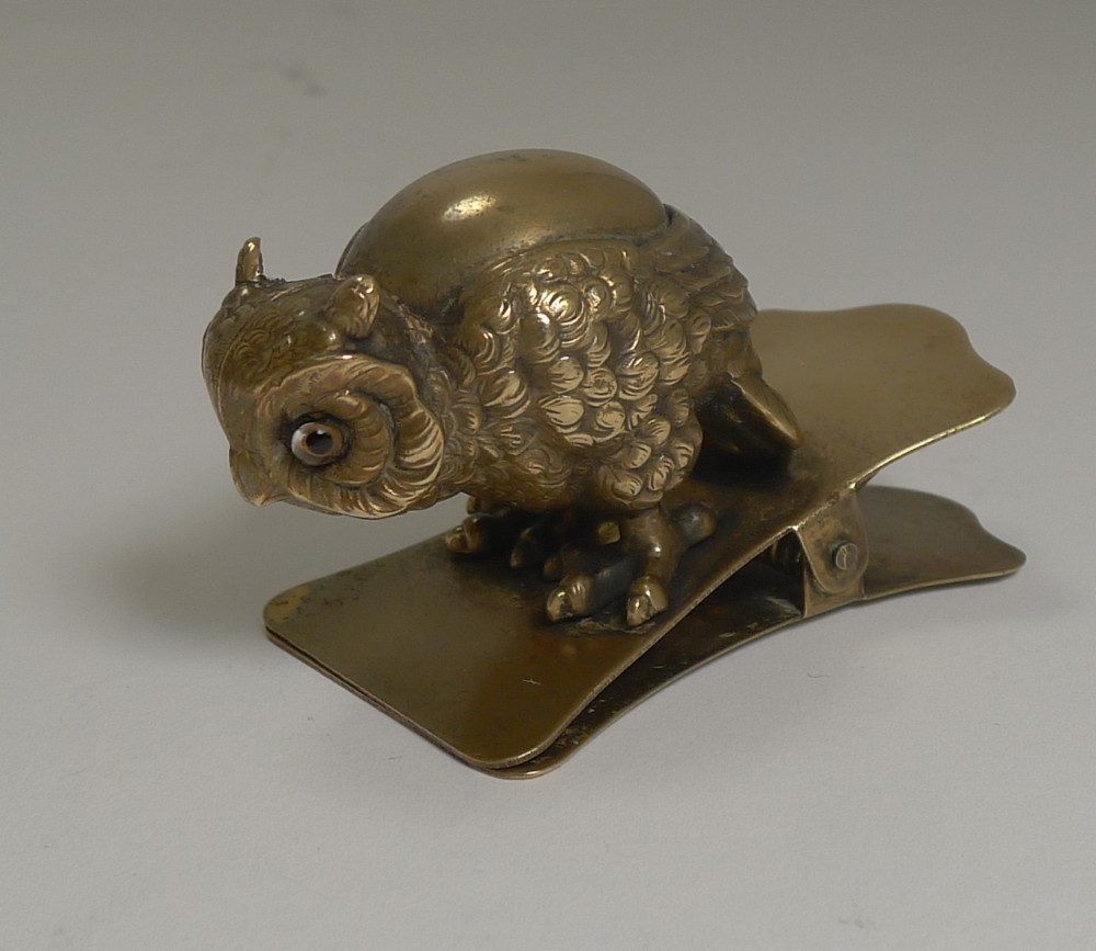 charming antique novelty brass paper letter clip owl with glass eyes