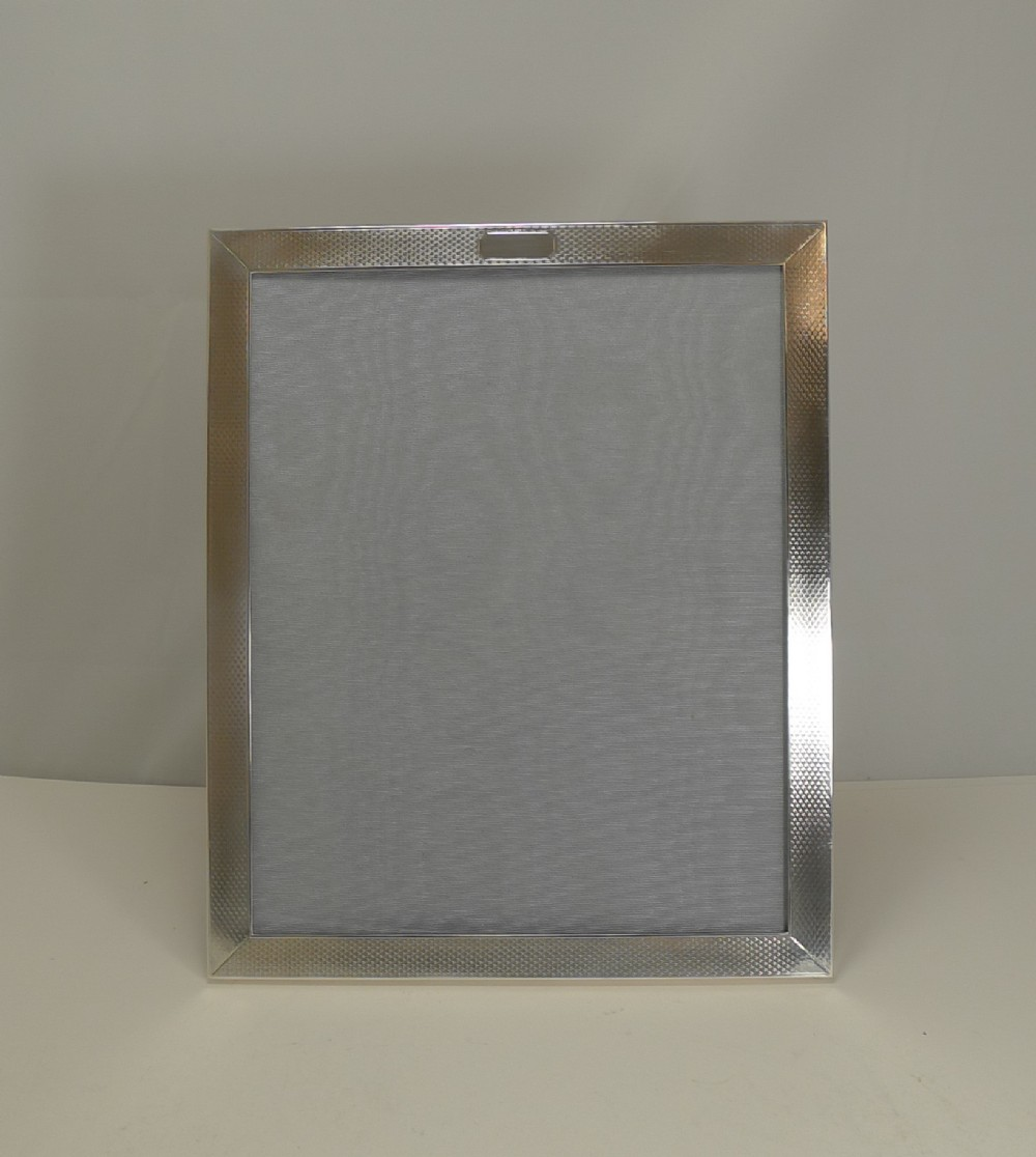smart large art deco english sterling silver photograph frame 1931 by elkington co