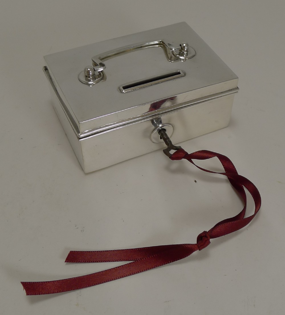 rare novelty english sterling silver money box bank miniature cash box