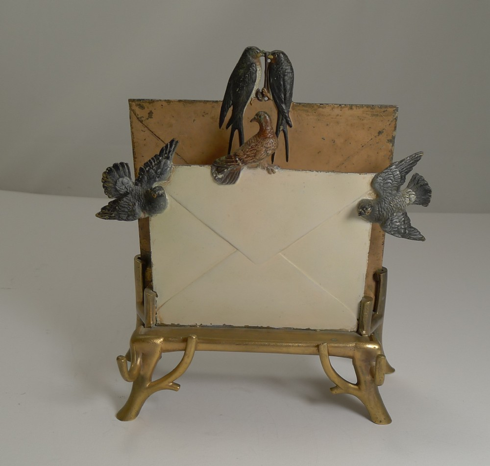 rare cold painted vienna bronze letter rack or holder c1890
