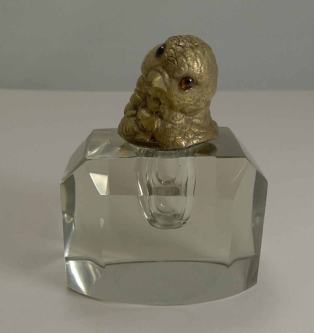 magnificent art deco cut crystal inkwell figural cast gilded bronze chick with glass eyes