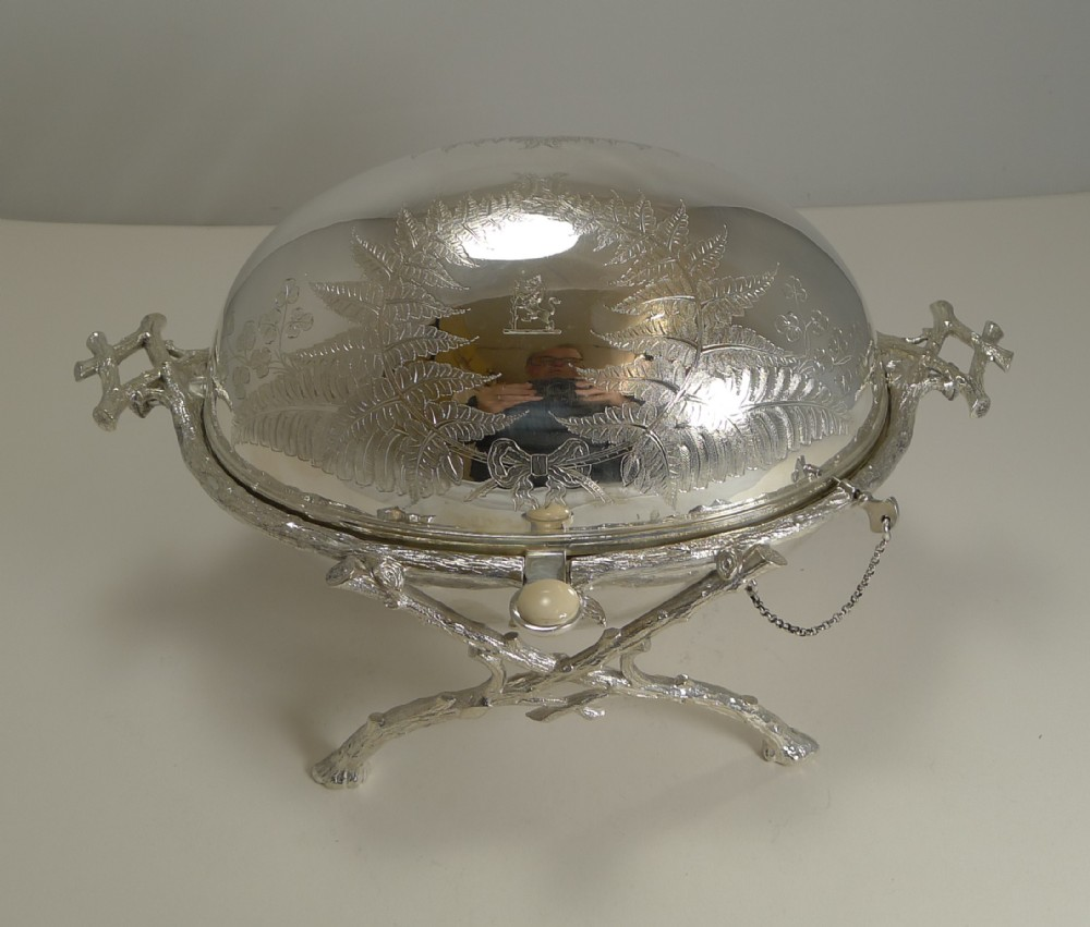 magnificent antique english revolving breakfast dish by atkin brothers c1870