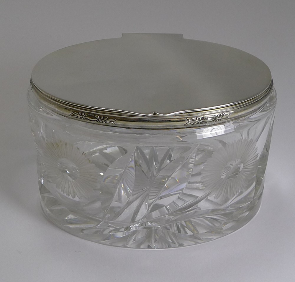 stunning vintage english cut crystal and silver plate biscuit box 1929