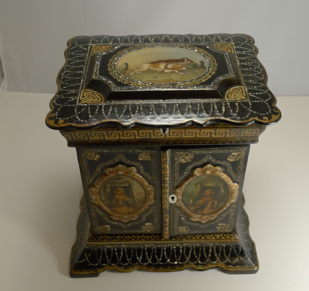 magnificent english papier mache jewellery cabinet box c1860 dogs