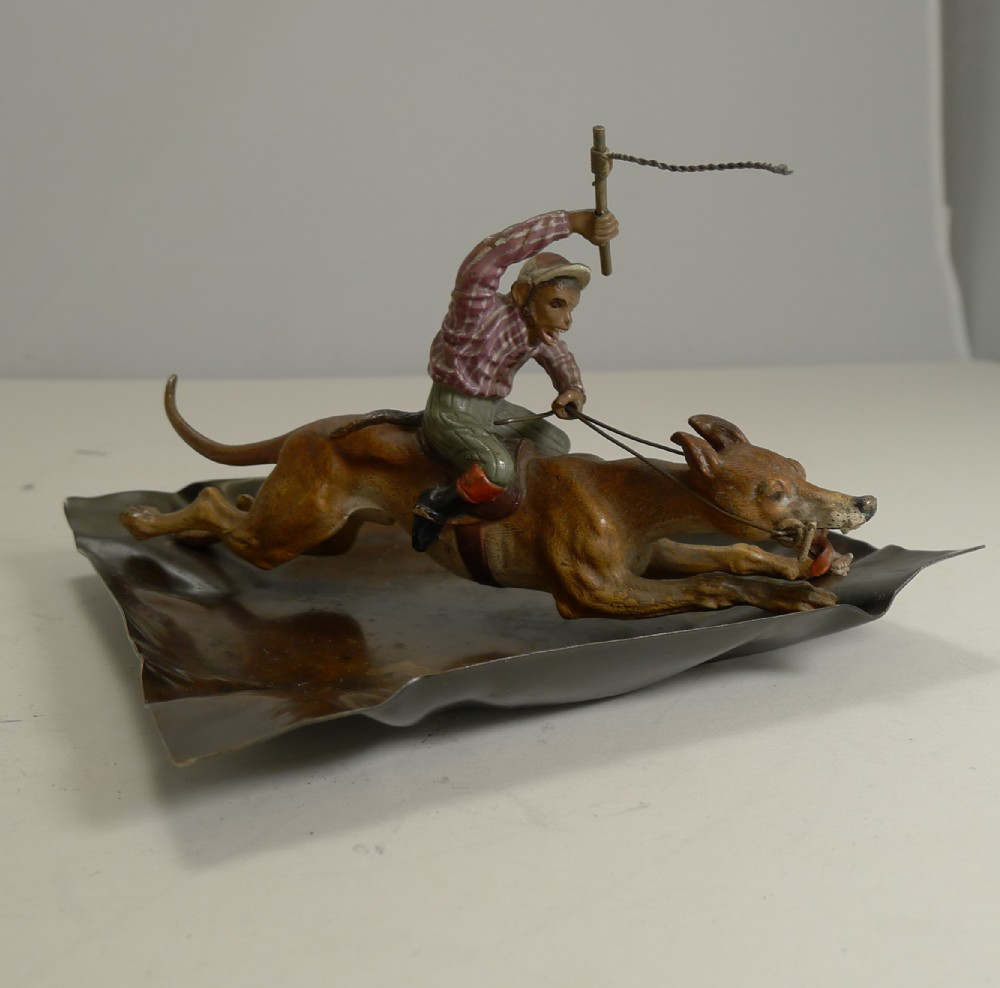 magnificent antique cold painted vienna bronze dish monkey racing a greyhound c1900