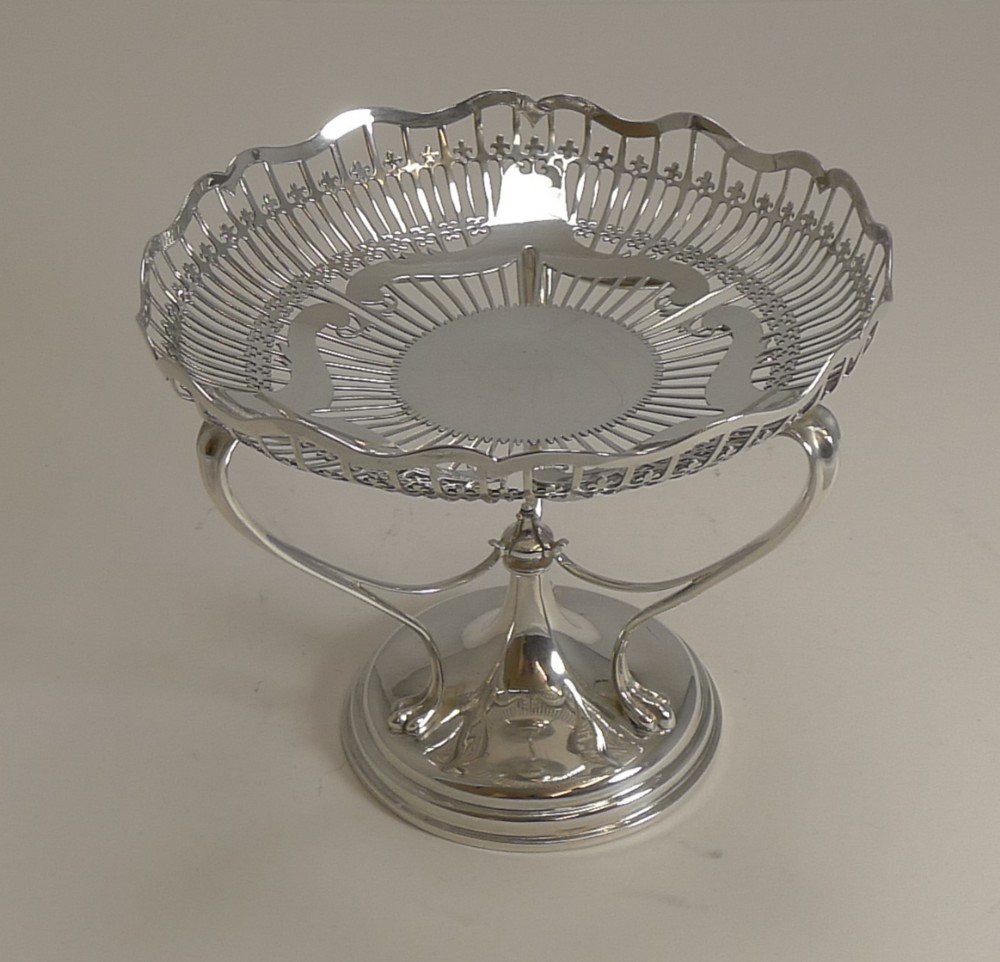 antique english sterling silver art nouveau reticulated tazza bowl comport 1906