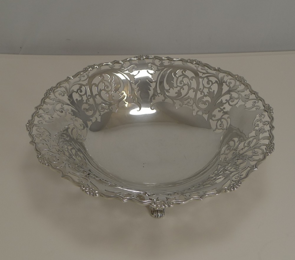english sterling silver fruit basket dish by mappin and webb 1929