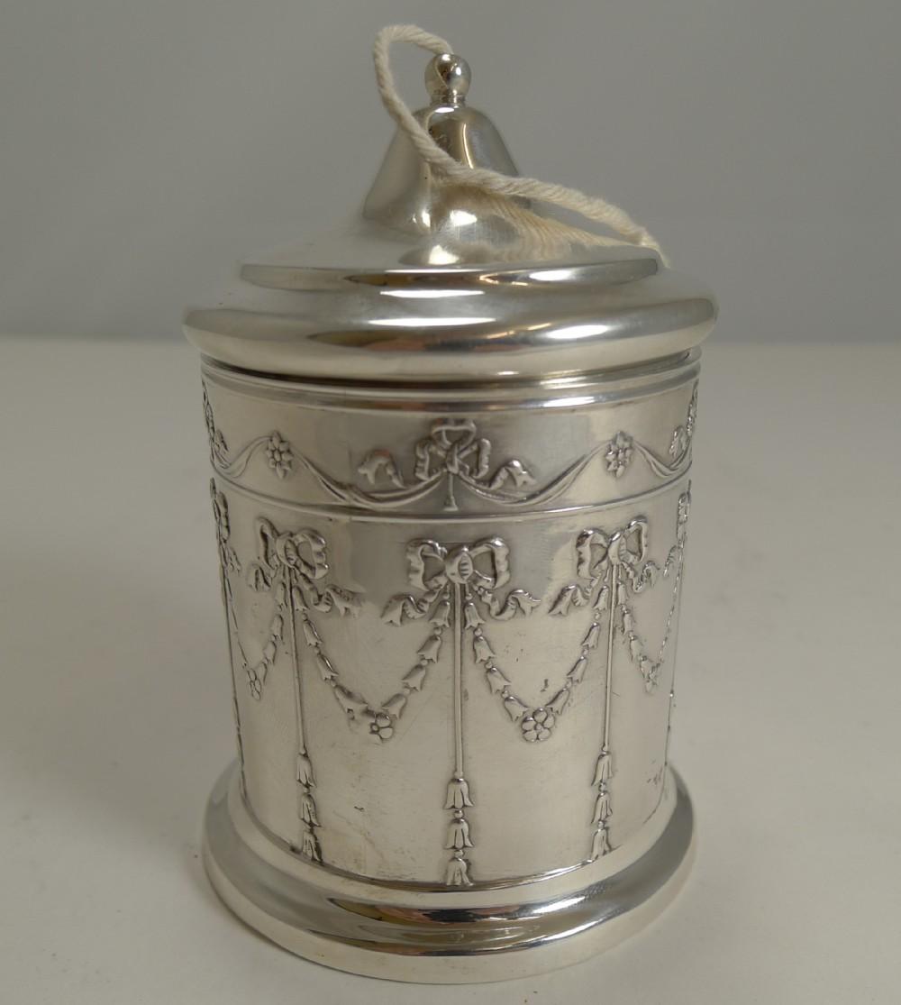 pretty antique english sterling silver string twine box 1906