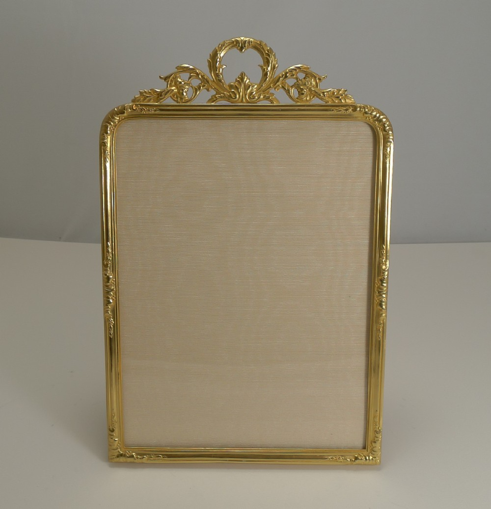 large antique french gilded bronze photograph frame c1900