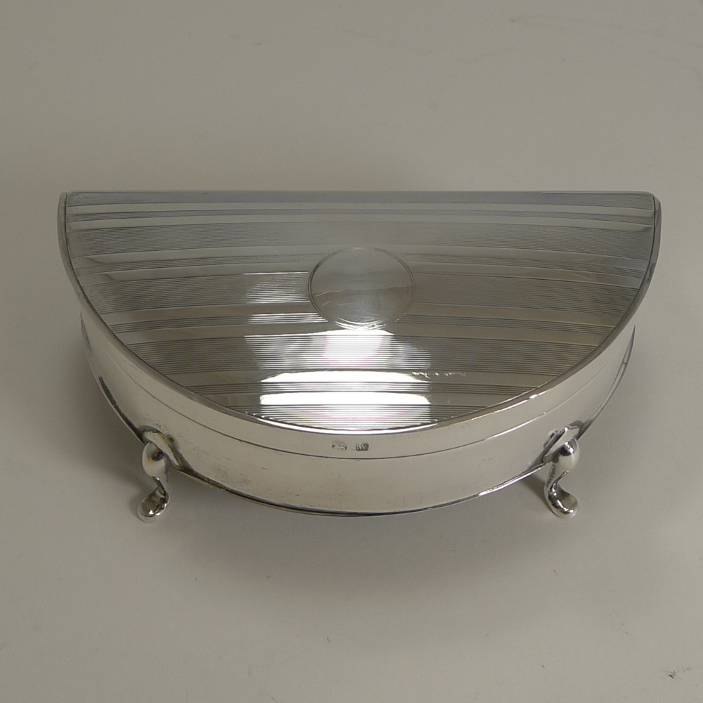 handsome half moon english sterling silver jewellery box 1921