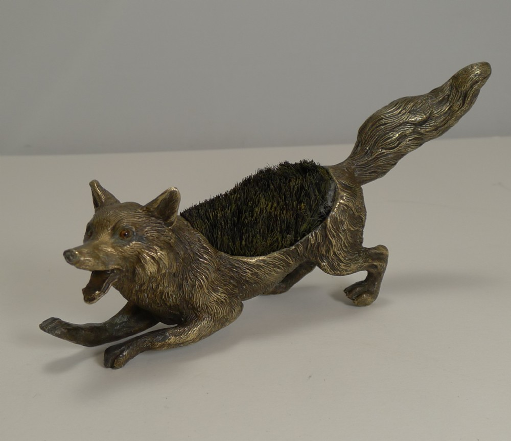 magnificent figural austrian bronze pen nib wipe fox c1900