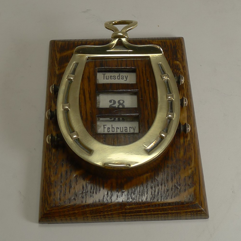 rare antique english equestrian desk letter clip horseshoe perpetual calendar