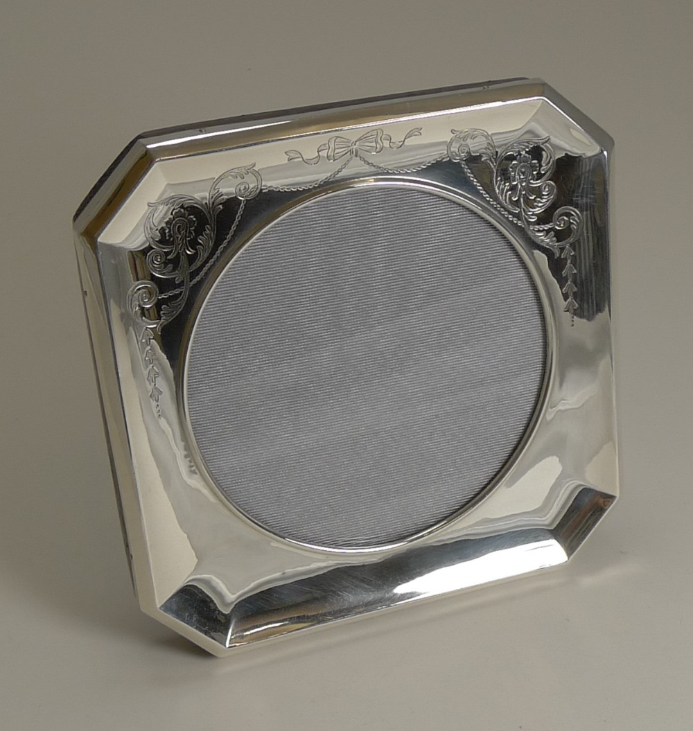antique english sterling silver photograph frame pretty engraved decoration