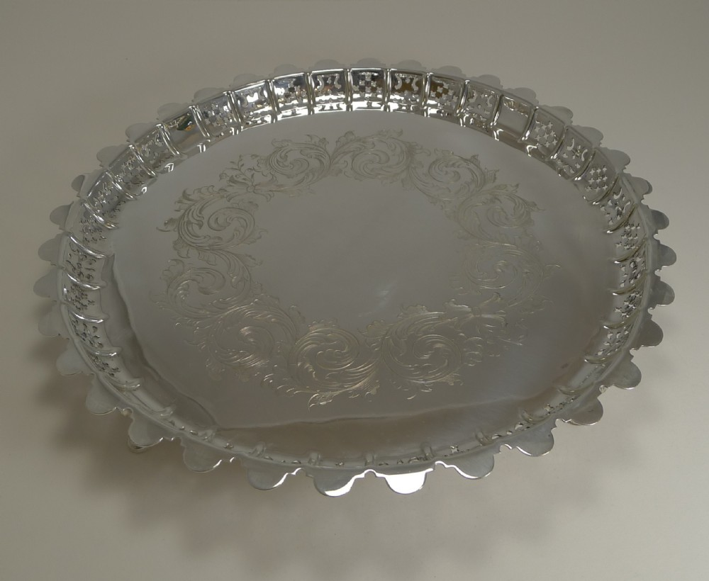 large antique english silver plated circular salver tray 1855