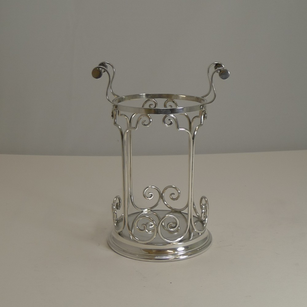 antique english silver plated wine bottle caddy holder c1900 by james dixon