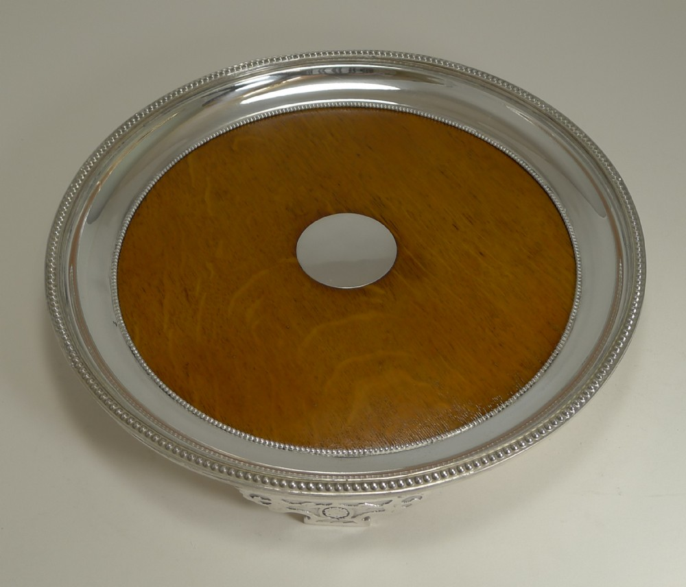 antique english circular silver plate and oak serving tray registered 1871
