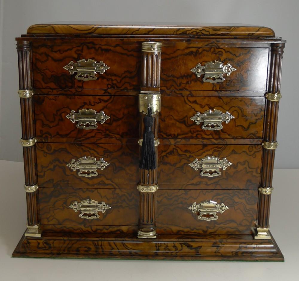 antique english burr walnut and brass cigar cabinet humidor c1880