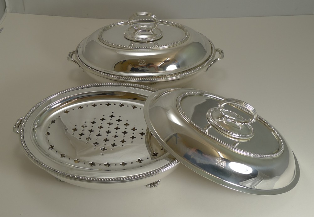 fine pair antique entree chafing dishes by stephen smith and son of covent garden london