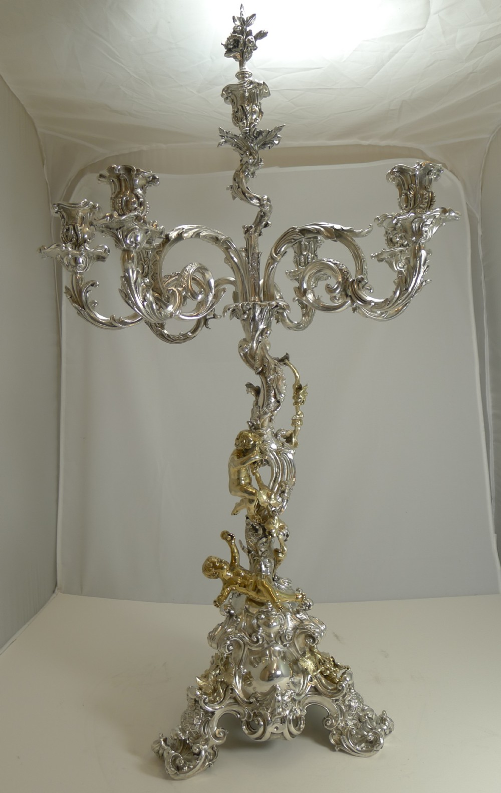 important six light silver plated candelabra centrepiece by elkington 1868 cherubs