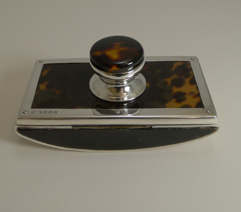 english silver and tortoiseshell rocking blotter 1924