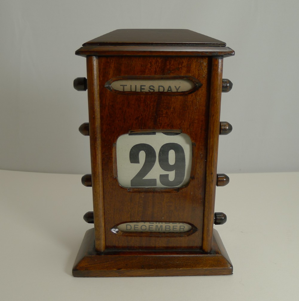 antique english mahogany perpetual calendar c1900 8 12