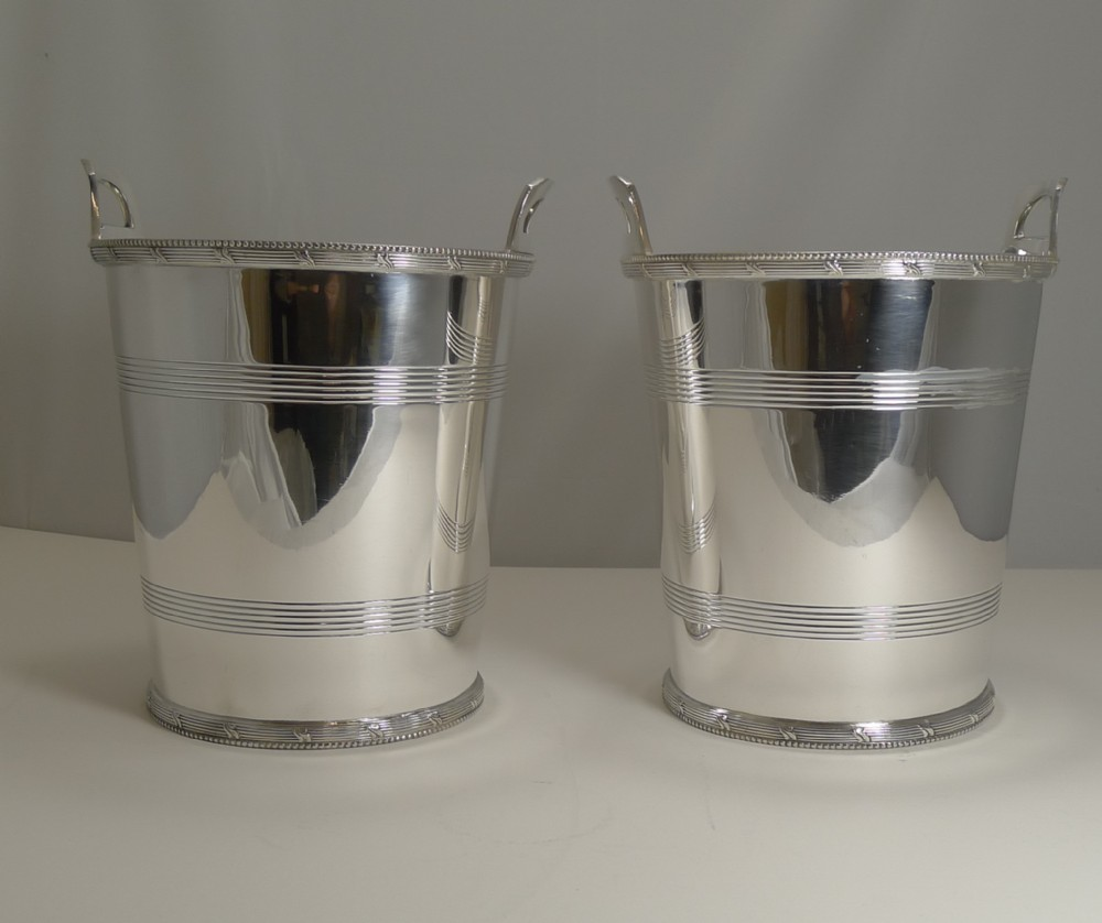 pair english art deco silver plated wine champagne coolers by lee and wigfull c1930