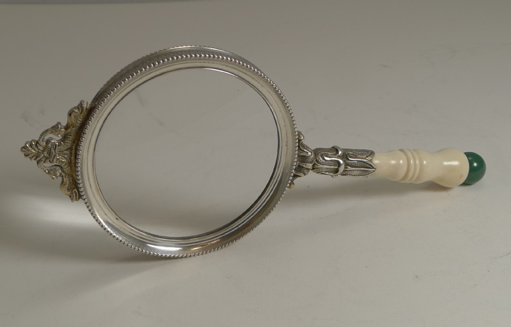 fine ivory and jade handled magnifying glass c1900
