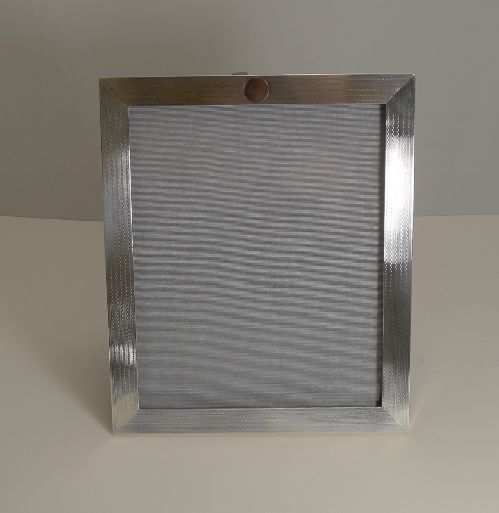 smart art deco engine turned english sterling silver photograph picture frame