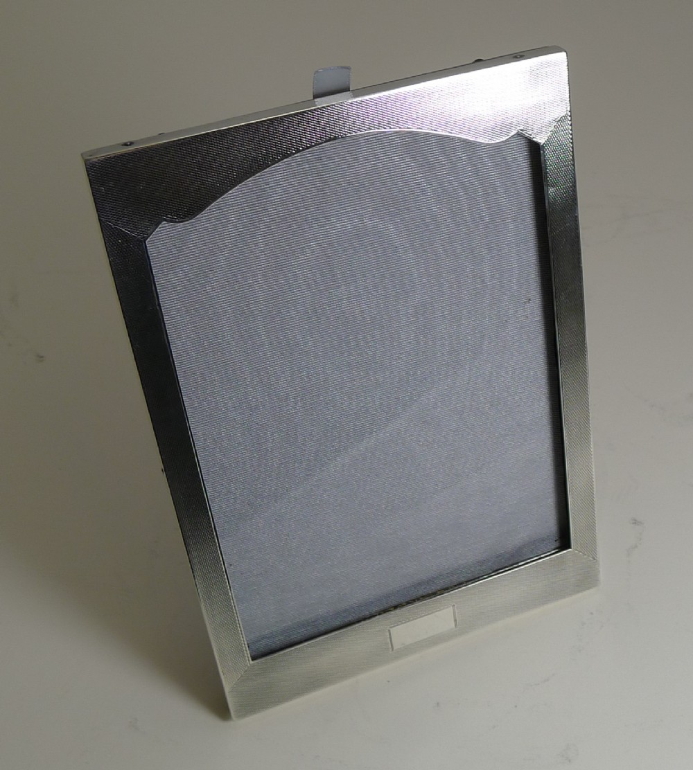 art deco english sterling silver photograph picture frame engine turned
