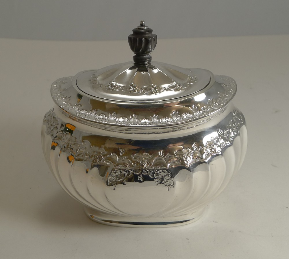 english silver plated tea caddy by atkin brothers reg 1889