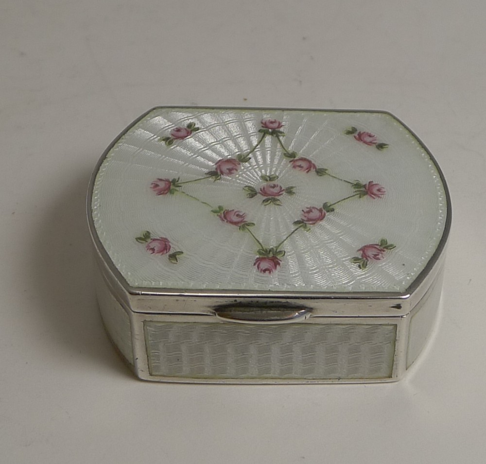heavy antique austrian sterling silver and guilloche enamel pill box c1900