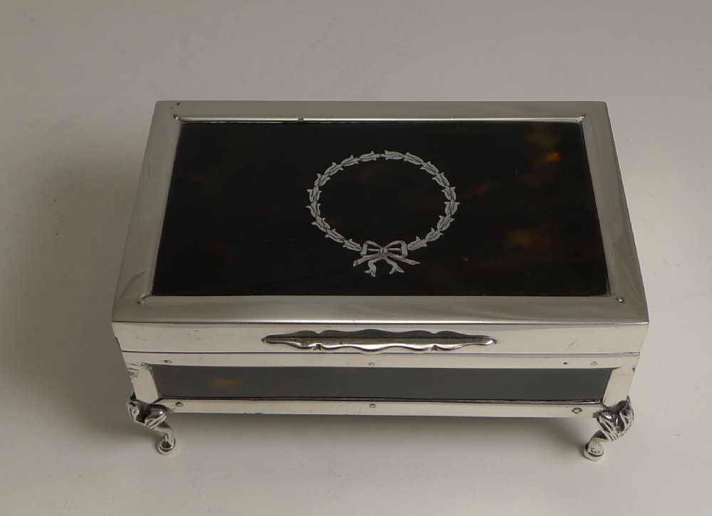 antique english sterling silver and tortoiseshell jewellery box 1919