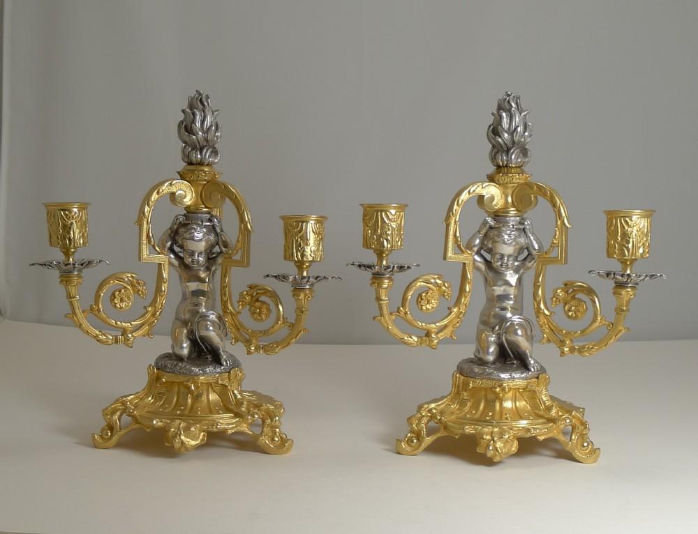 pair magnificent french bronze three branch candlesticks candelabra cherubs c1870
