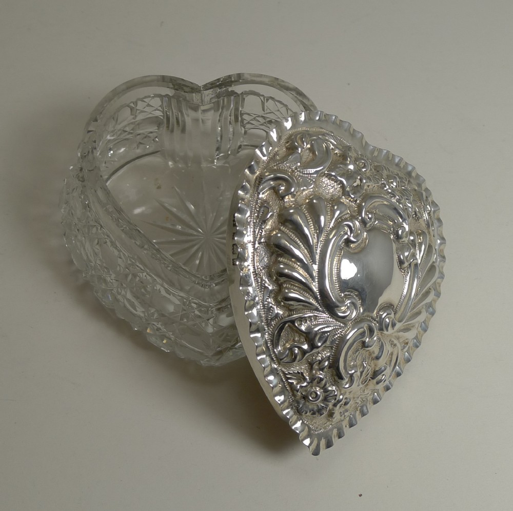 large antique cut crystal and sterling silver heart shaped box 1903