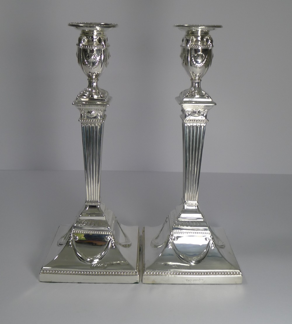 large pair antique english silver plated candlesticks by walker hall c1910