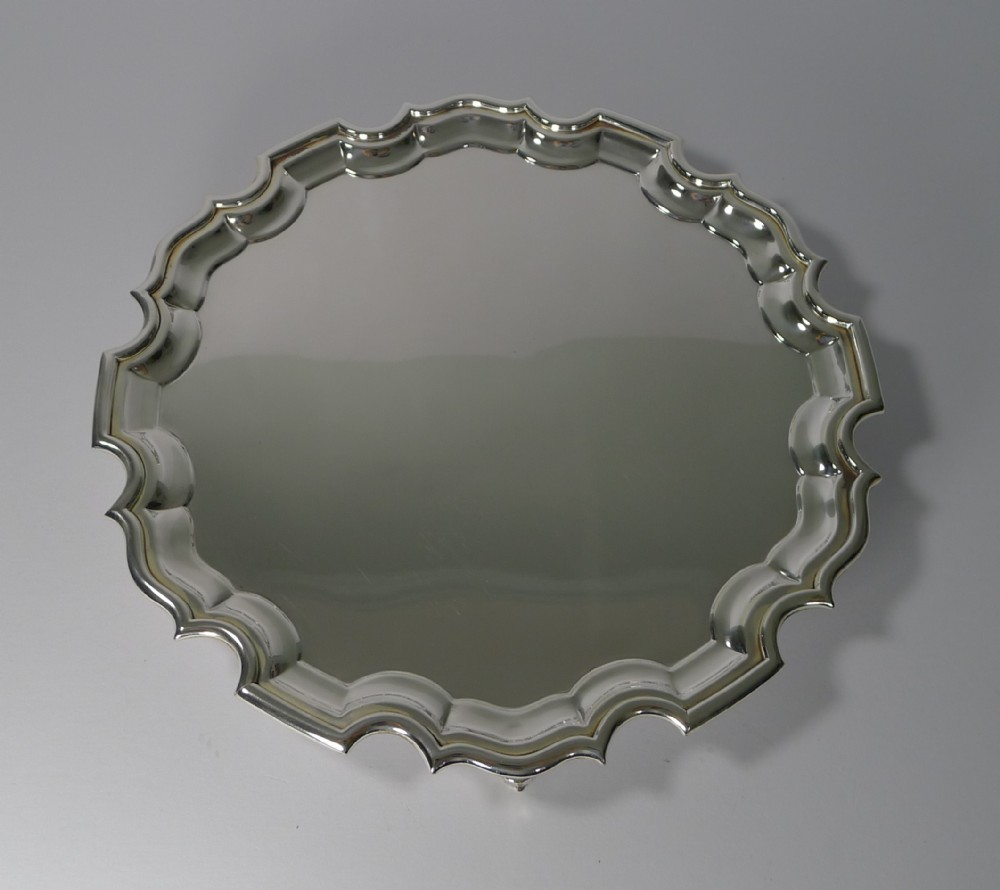 antique english silver plated cocktail or drinks tray salver c1910