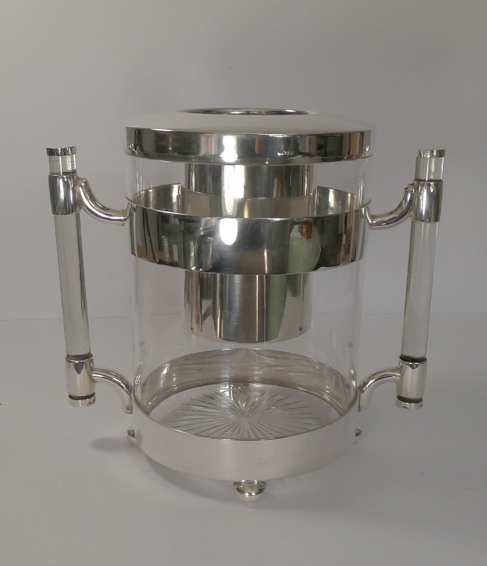 rare art deco italian crystal and silver plated champagne bucket wine cooler