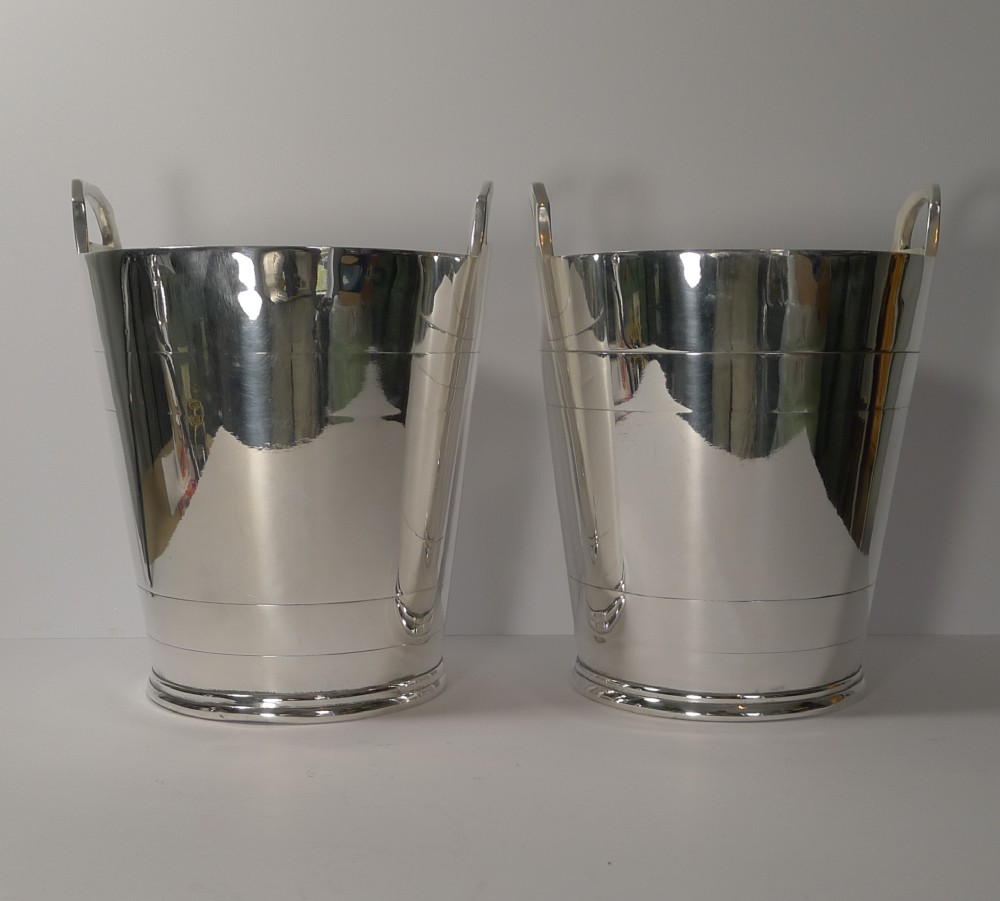 fine pair mappin webb silver plated wine coolers champagne buckets c1940